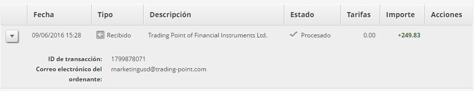 Comprobante de pago XM Partners mayo del 2016