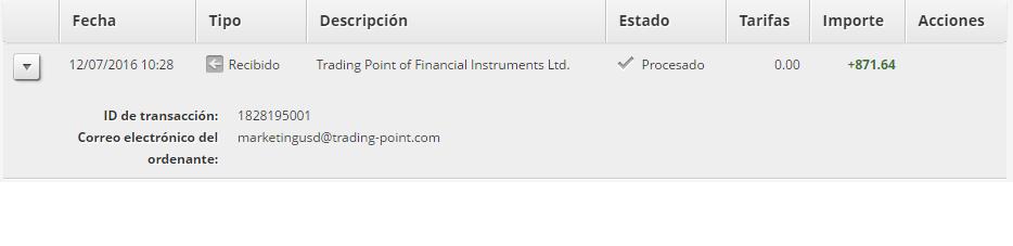 segunda prueba de pago del programa XM Partners