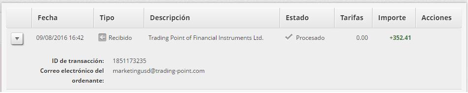 tercer comprobante de pago del programa XMPartners