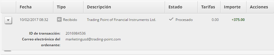 Cuarta prueba de pago de XMPartners